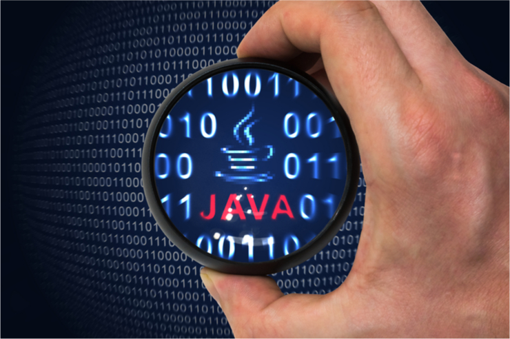 Java logo in binary code