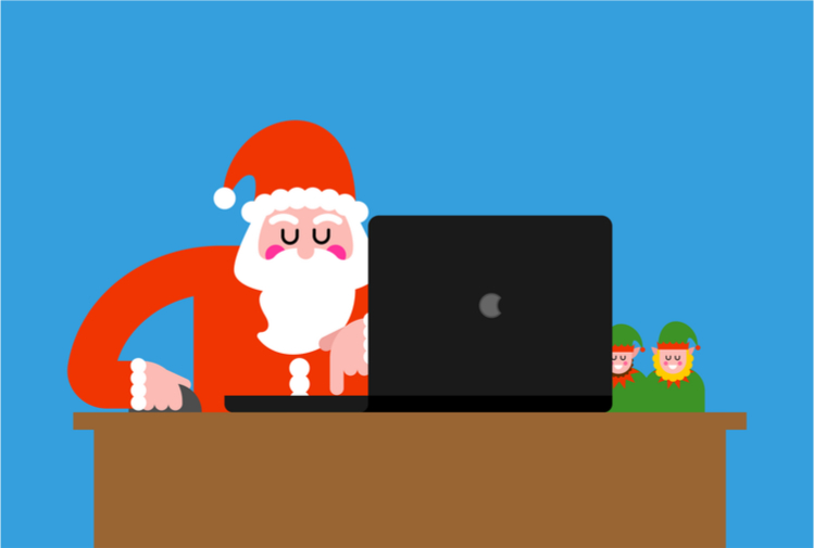Santa with laptop